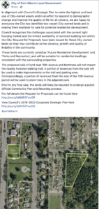 City of Port Alberni Facebook Announcement of Sale of Park and Forest Land